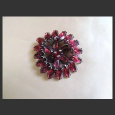 Dress Clip Art Deco Raspberry Pink Foiled Backed Stones c1930's