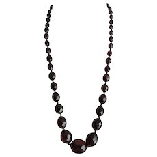 Bakelite Cherry Amber Necklace Art Deco c1940's