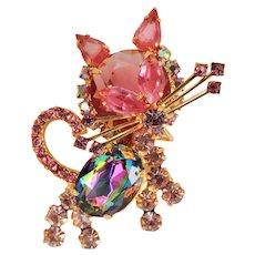 Juliana Cat Pin Brooch Pink Rhinestones Delizza & Elster c1960's.