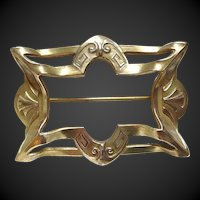 Art Nouveau Sash Pin Brass Arts and Crafts
