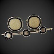 Cufflinks Studs Set Gold Tone with Black Onyx Rhinestones C1980's