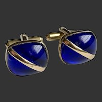 Men's Cufflinks Cobalt Blue Gold Filled Art Deco c1940's