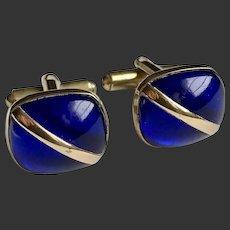 Men's Cufflinks Cobalt Blue Gold Filled Art Deco c1940's