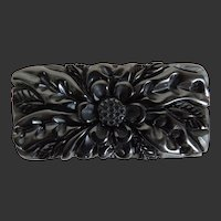 Bakelite Pin Carved Black Chunky Dimensional