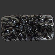 Bakelite Pin Carved Black Chunky Dimensional