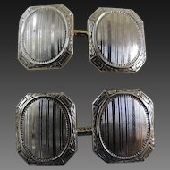 Vintage Cufflinks 14K Yellow Gold and Platinum Double Sided c1920's