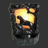 MCM Television TV Lamp Planter Panther Gloss Black Ceramic Mid-Century Modern