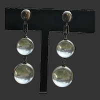 """Pools of Light"" Orbs Sterling Screw Backs Art Deco c1930's"