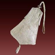 Whiting & Davis Silver Mesh Purse Handbag Wristlet Sapphire Clasp c1920's