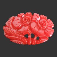 Bakelite Pin Deeply Carved Red Dimensional Flowers   S11P