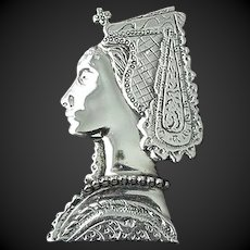 Sterling Pin Lady Face Art Deco