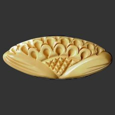 Bakelite Pin Carved Yellow Chunky Dimensional 1940's