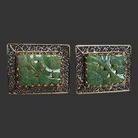 Cufflinks 14K Gold with Carved Jade Filigree Work c1950's