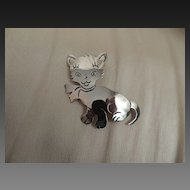 Mexican Sterling Cat Pin c1980's