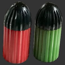 Bakelite Salt & Pepper Shakers Bullet Shaped Art Deco c1930's