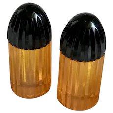 Bakelite Salt & Pepper Shakers Apple Juice Bullet Shaped Art Deco c1930's