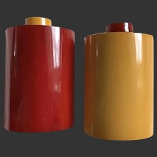 Bakelite Salt & Pepper Shakers Deco Rare x Large Size S&P c1930's