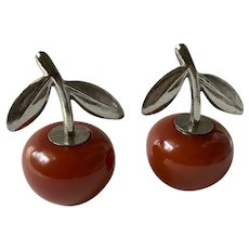 Bakelite Salt & Pepper Shakers Apple with Metal Stems Art Deco c1940's