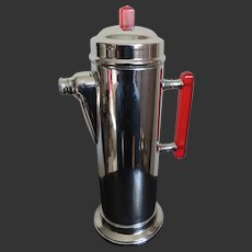 Chrome Cocktail Shaker Art Deco with Red Bakelite Handle c1940's