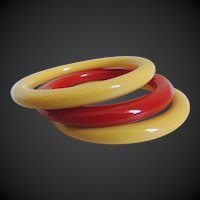 Bakelite Bracelets Red and Yellow Stacked Set of 3