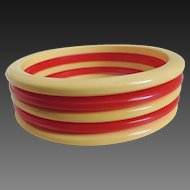 Bakelite Bracelets Red and Yellow Stacked Set of 5