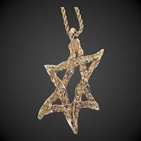 Jewish Star of David 14K Gold Modernist Handmade c1959