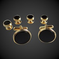 Cufflinks Studs Set with Black Onyx Set in Gold Tone