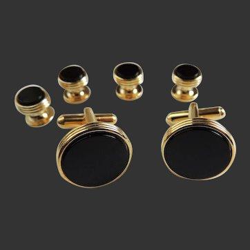 Cufflinks Studs Set with Black Onyx Set in Gold Tone