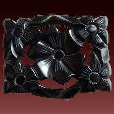 Bakelite Pin Floral Deeply Carved Black c1940's