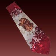 Deco Hand Painted Men's Neck Tie Dog Irish Setter