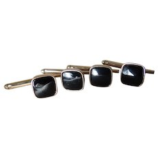 Stud Set 14 Karat Gold Filled with Black Onyx Stones c1980's