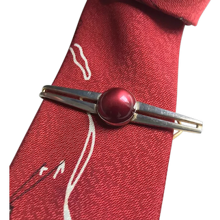 Tie Bar Tie Clip Moon Glow Red Lucite and Gold Tone c1940's