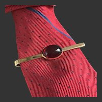 Tie Bar Tie Clip Gold-Filled Red Lucite c1940's