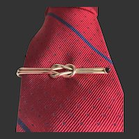Tie Bar Tie Clip Gold-Filled Two-Tone Red Cabochon Art Deco c1940's