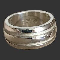 Tiffany & Co Atlas Grooved Sterling Ring c1990's