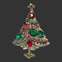 Christmas Tree Pin Brooch Hollycraft Signed c1960's