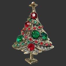 Christmas Tree Pin Brooch Hollycraft Signed c1960's