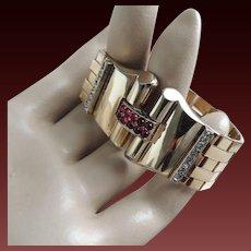 Trifari Art Deco Retro Diamante and Ruby Cabochon Gold Plated Bracelet c1948