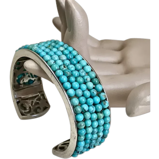 Sterling Silver Beaded Turquoise Cuff Bracelet by Whitney Kelly