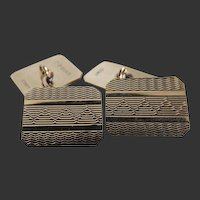 Cufflinks 9K Gold Double Sided Art Deco
