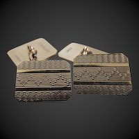 Cufflinks 9K Gold Double Sided Art Deco