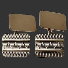 Cufflinks 9 Karat Gold Art Deco Double Sided c1920'/30's