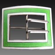 Sterling Guilloche Enamel Sash Pin
