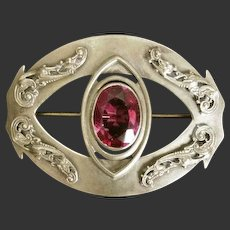 Sash Pin with Glass Stone Art Nouveau Early 1900's