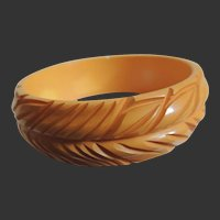 Bakelite Bracelet Deeply Hand Carved Yellow c1940's
