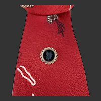 Tie Tac 14 Karat Gold & Black Onyx Intaglio c1960's