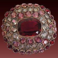 Hobe Pin Brooch Ruby Red Pink Clear Rhinestones