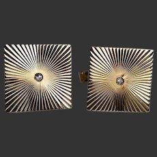 Cufflinks 14 Karat Gold with Diamond c1980's