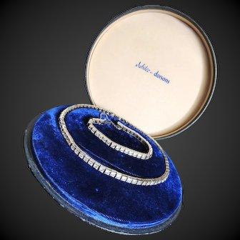 Rhinestone Necklace & Bracelet Jubilee Sterling Set by Dorsons c1950's