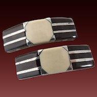 Shoe Buckles Shoe Clips Art Deco Glass & Silver c1920's
